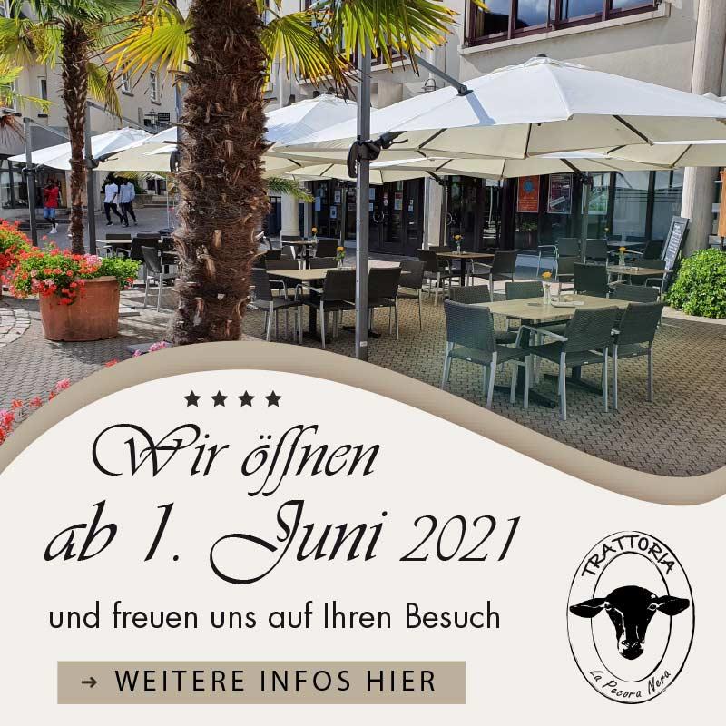 Wir öffnen am 1. Juni 2021 | Trattoria La Pecora Nera | Bad Säckingen